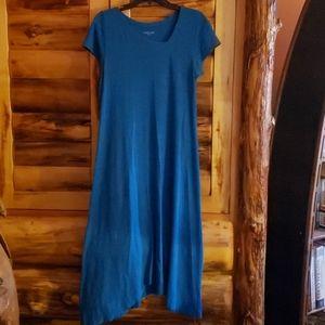Eileen Fisher organic cotton hemp dress blue